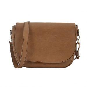 Crossover Bag Unikat Umhängetasche Leder hellbraun mittelgroß