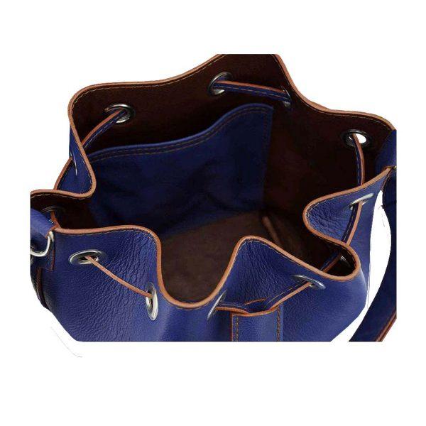 Beuteltasche Bucket Bug blau Ledertasche handmade Taschen Unikat von ninok