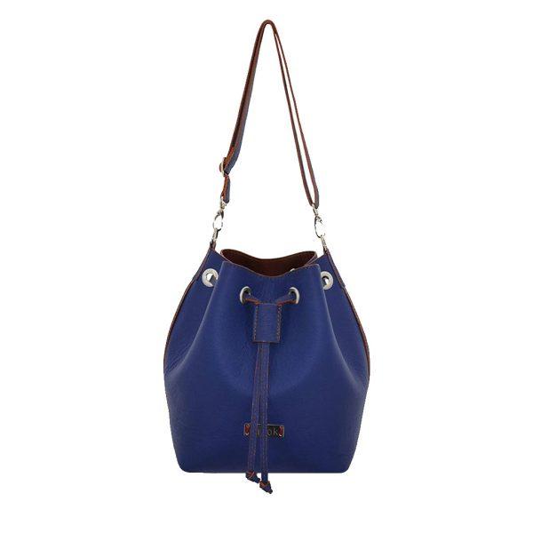 Beuteltasche Ledertasche - Unikat von ninok - Bucket Bag in bi-color blau braun