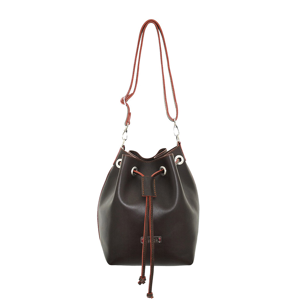 8146883095625 Beuteltasche aus Leder dunkelbraun mittelgross handgefertigt · Beuteltasche  Leder Bucket Bag mit Reißverschlusstasche