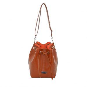 Bucket Bag Ledertasche cognac orange, leicht - handmade von ninok.