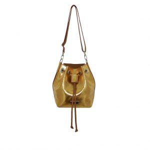 Ledertasche Mini Bucket Bag aus metallic Leder gold und hellbraun
