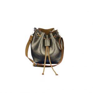 Metallic Ledertasche Bucket Bag silber Unikat handmade