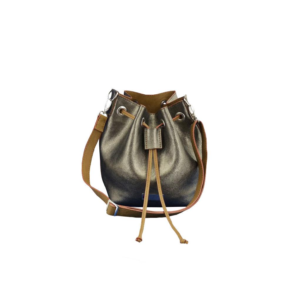 ea56dbfdad8e1 Metallic Ledertasche - kleine Bucket Bag mit Lederfutter