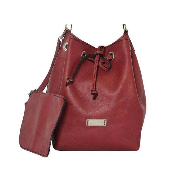 Rote Ledertasche Beuteltasche mit Zug, Bucket Bag mit Zipper Leder Clutch