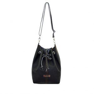 Scwarze Ledertasche Bucket Bag mittelgroß