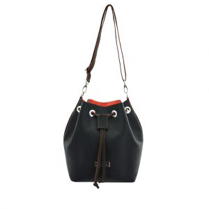 Bucket Bag in Bi-Color aus Leder schwarz-orange von ninok.