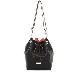 Bucket Bag schwarz orange Leder mit herausnehmbarer Innentasche mit Reißverschluss Handmade Unikat von ninok