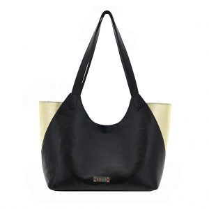ninok Shopping Bag Ledershopper schwarz gold lila