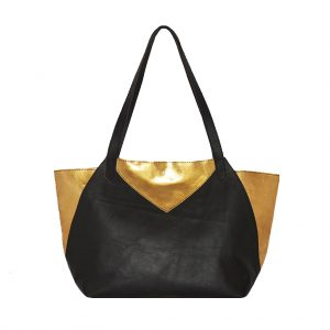 Shopping Bag Ledertasche gross gold schwarz Henkeltasche