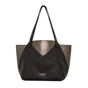 Shopping Bag braun metallic titan Ledertasche mit Henkel vo ninok, handgefertigt in Deutschland