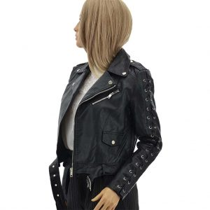 Biker Jacket schwarz Kunstlederjacke mit Gürtel und Schnalle