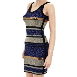 Nevada Love Kleid enges Minikleid schwarz lila beige.