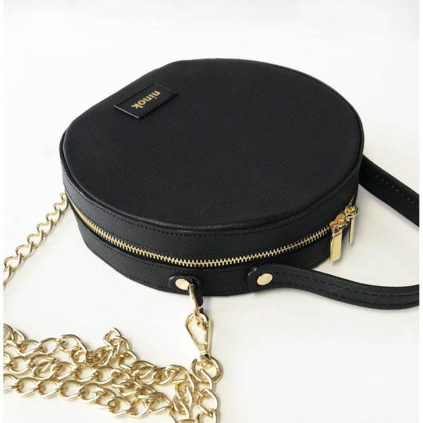 Circle Bag schwarz Runde Ledertasche Crossover Bag aus Leder.