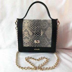 Tasche mit Kette und leder Henkel. Kleine Ledertasche in schwarz und Schlangenoptik beige.