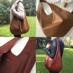 Hobo Bag aus Leder erdnuss braun und kastanienbraun-rot mit Träger, große Ledetasche. Beuteltasche mit Innenfach aus Antik Leder handgefertigt.