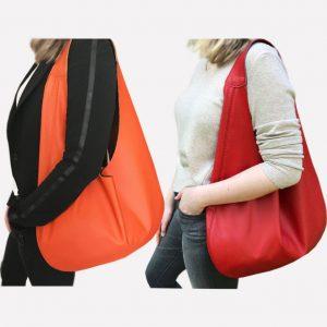 Rote Hobo Bag und Leder Hobo Bag in orange. Große Ledertaschen mit Henkel. Ideale Tasche zum Shoppen und Reisen. Handgefertigte Ledertasche.
