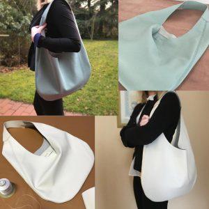 Hobo Bag aus Leder in weiss und puderblau mit einem Henkel und Innentasche, grosse Ledertasche