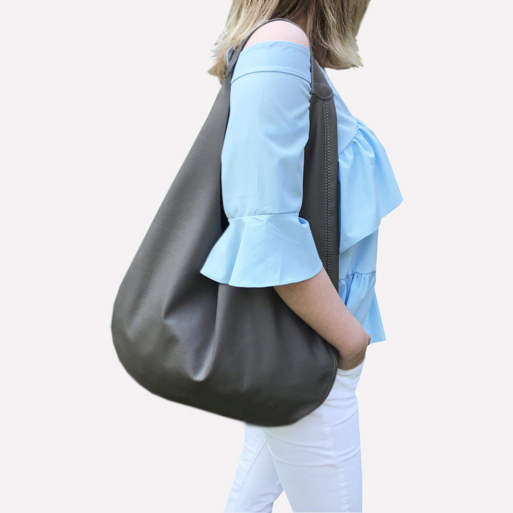 422b4b553688a Graue Ledertasche Shopper Hobo Bag mit einem Henkel. Große Ledertasche in  grau. Damen Tasche
