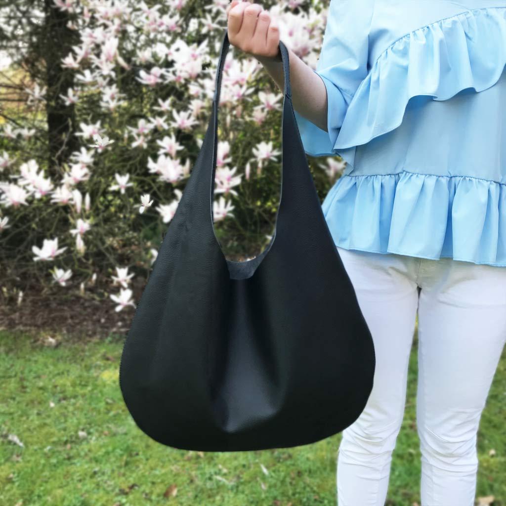 0d6e2e94511d3 Damen Handtasche aus · Schwarze Hobo Bag aus Leder. Shopper Ledertasche mit  Henkel. Große Tasche in schwarz.