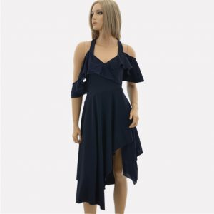 Asymmetrisches Kleid dunkelblau mit Träger, Volant und Schlitz von HIGH USE by Claire Campbell, knielang, schmal an der Büste, locker in der Hüfte, stark reduziert, outlet