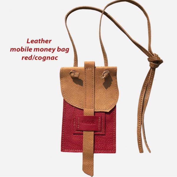 Handytasche aus Ledercognac vintage/rot kombi für Karten und Geld zum umhängen.
