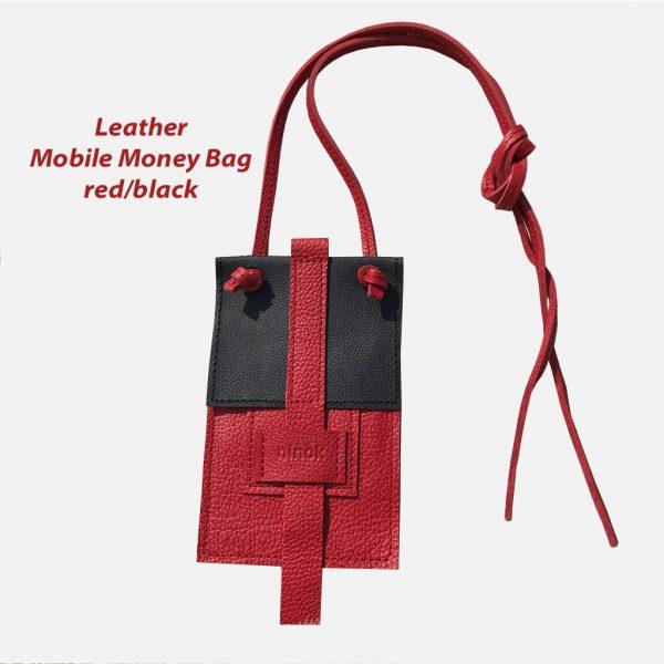 Handytasche aus Leder schwarz/rot. mit Lederbänder zum Umhängen, Crossover oder Bauchtasche.