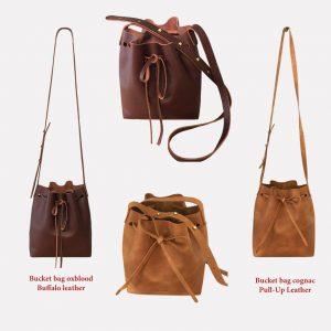 Cognac braune Ledertasche. Burgundy Ledertasche. Bucket Bag Umhängetasche. Mittelgroße minimalistische Tasche handgefertigt. Tasche mit Schulterriemen.
