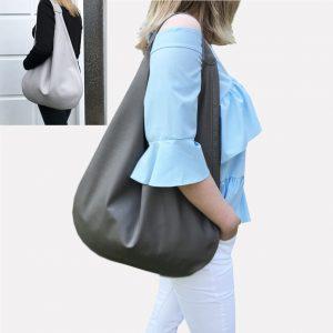 Graue Ledertasche hellgraue Hobo Bag, große Schultertasche mit einen Henkel für Damen handgefertigt. Taschen Trend. Minimalistische Tasche.