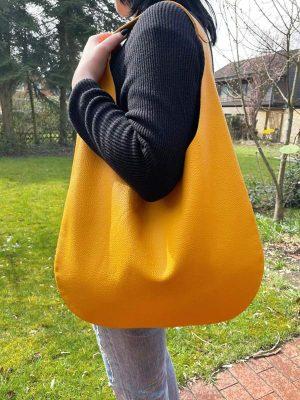 Ledertasche gelb Shopper Hobo Bag Schultertasche für Damen Sommertasche mit Henkel