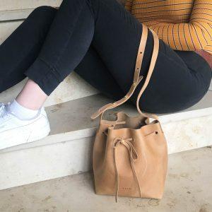 Damen Umhängetasche beige Ledertasche nature. Bucket Bag crossbody bag vintage und handgemacht
